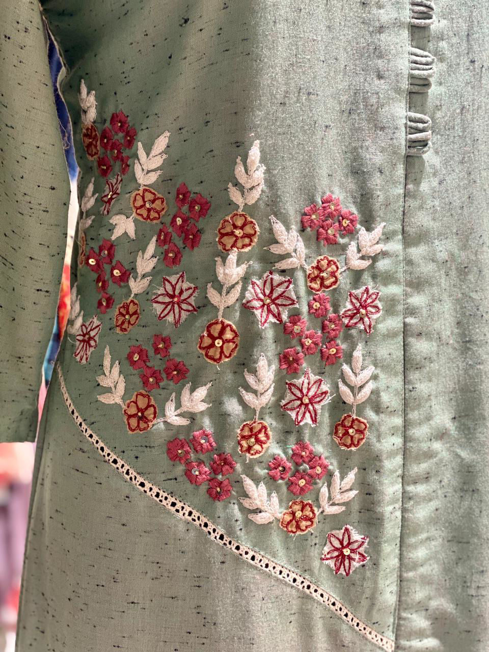 Picture of A Line Soft Cotton Tunic With Slit And Side Embroidery Detailing