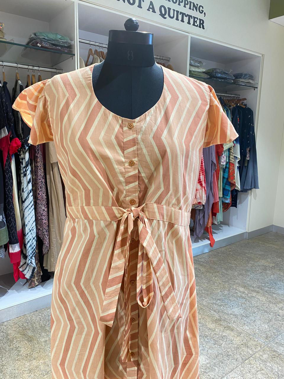 Picture of Indo-Western Dress In Zigzag Print With Attached Belt