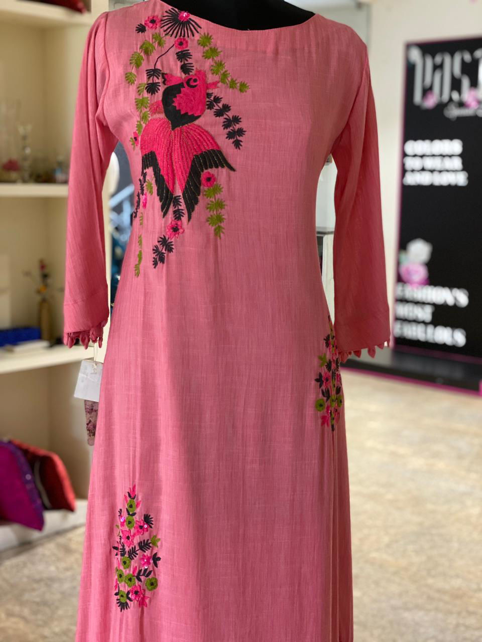 Picture of Long Floor Length Tunic With Heavy Embroidery Buttas With Attached Lining