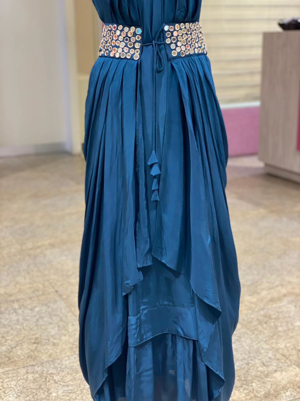 Picture of Pure Silk Plain Tunic With Drape Style Jacket With Mirror Work Detailing - Blue