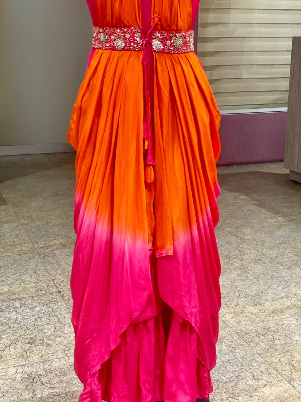 Picture of Pure Silk Plain Tunic With Drape Style Jacket With Mirror Work Detailing - Pink And Orange