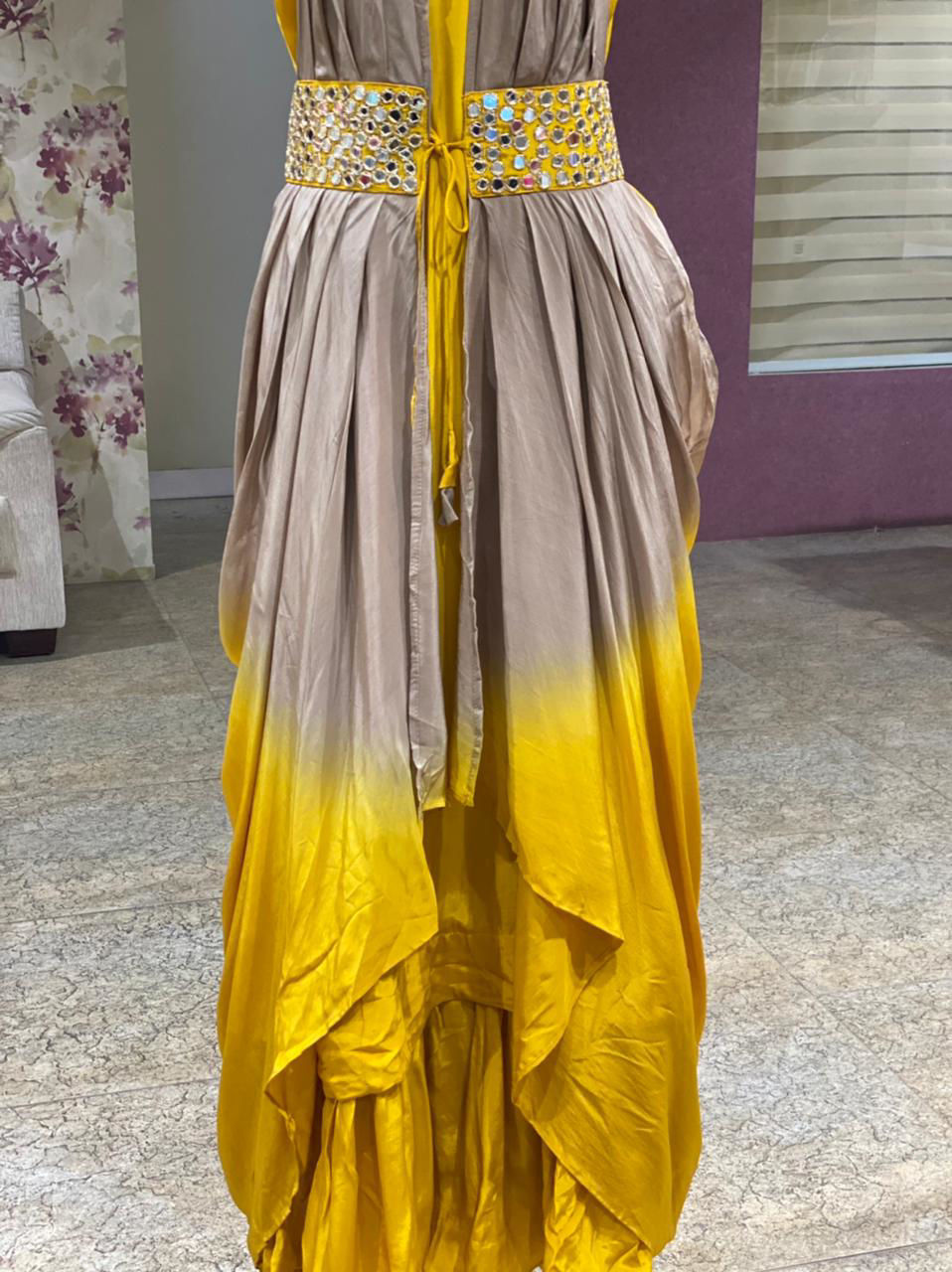 Picture of Pure Silk Plain Tunic With Drape Style Jacket With Mirror Work Detailing - Mustard
