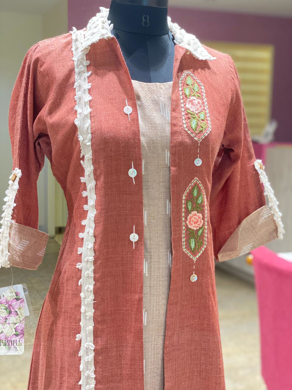 Picture of Indo-Western Jacket Style Tunic With Embroidery And Button Detailing