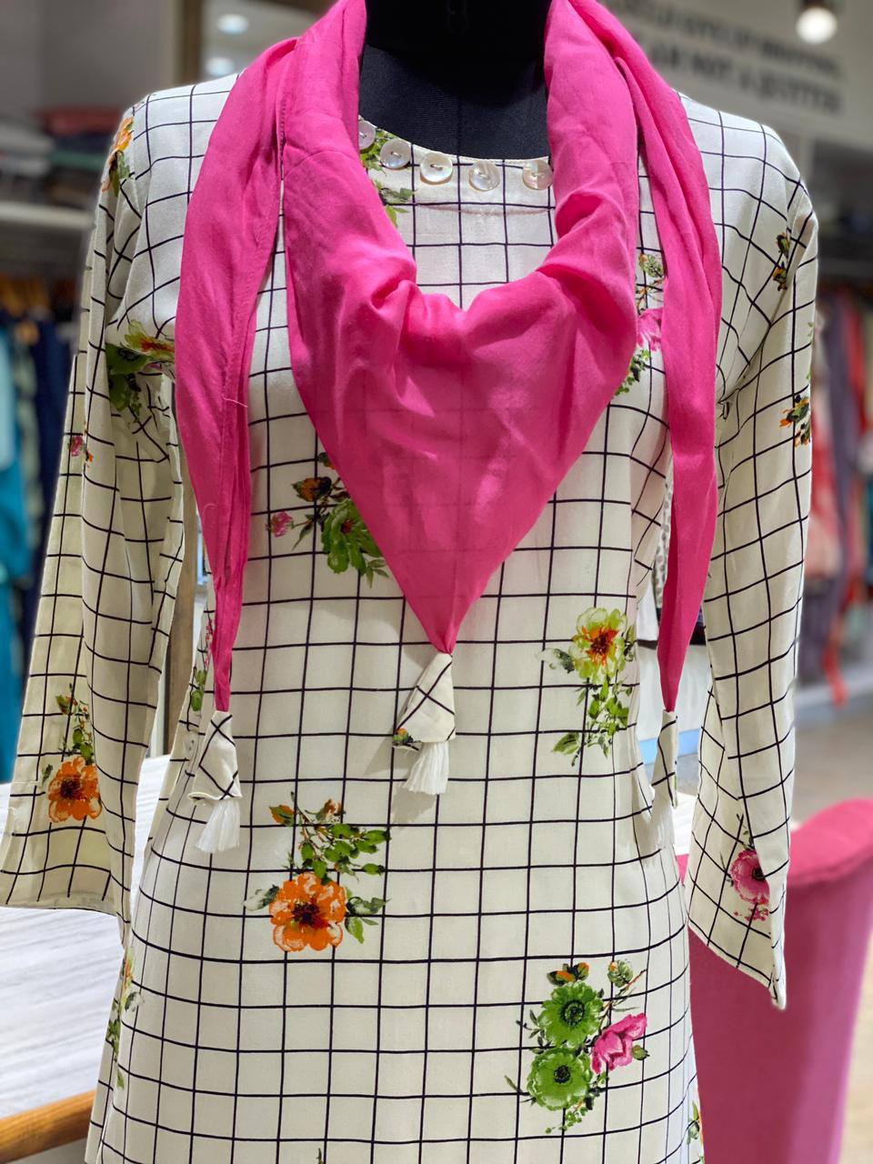 Picture of Indo-Western Summer Floral Print Tunic With Scarf And Sides Button Detailing