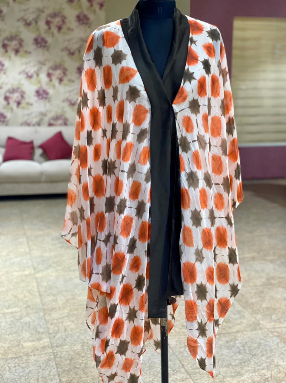 Picture of Cape Style Tie And Tie Top In Silk Fabric With Georgette Solid Palazzo