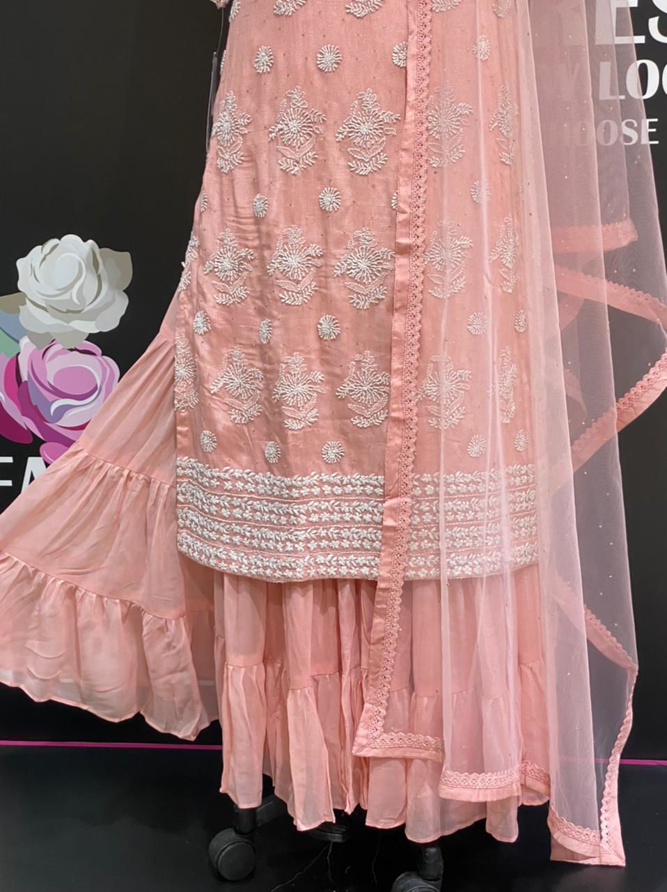Picture of Long Straight Cut Tunic In Chickankari Work With Sharara And Net Dupatta