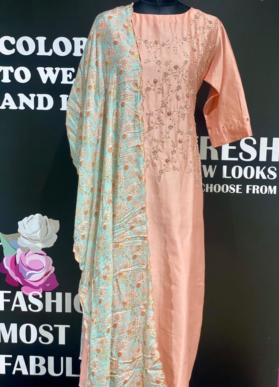 Picture of Straight Cut Tunic With Hand Work Yolk And Soft Silk Pastel Floral Dupatta