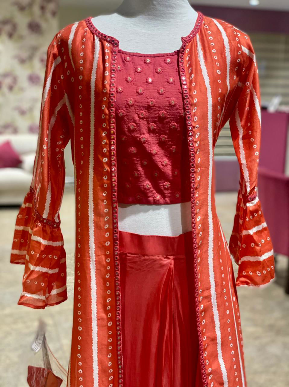 Picture of Mirror Work Crop Top With Crepe Cowl Skirt  And Jacket In Bandhej Print With Flared Sleeves Down