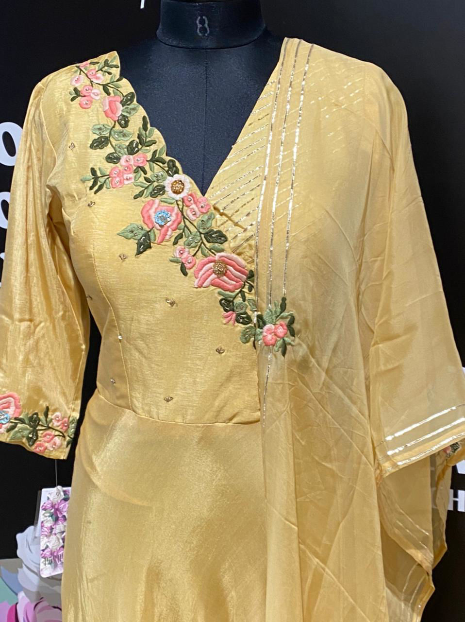 Picture of Long Silk Floor Length Gown With Thread Work And Organza Silk Dupatta