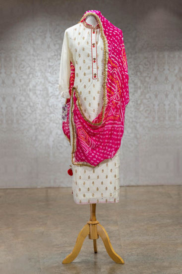 Picture of Pure chanderi silk long straight cut tunic with golden work Butis and gota worK