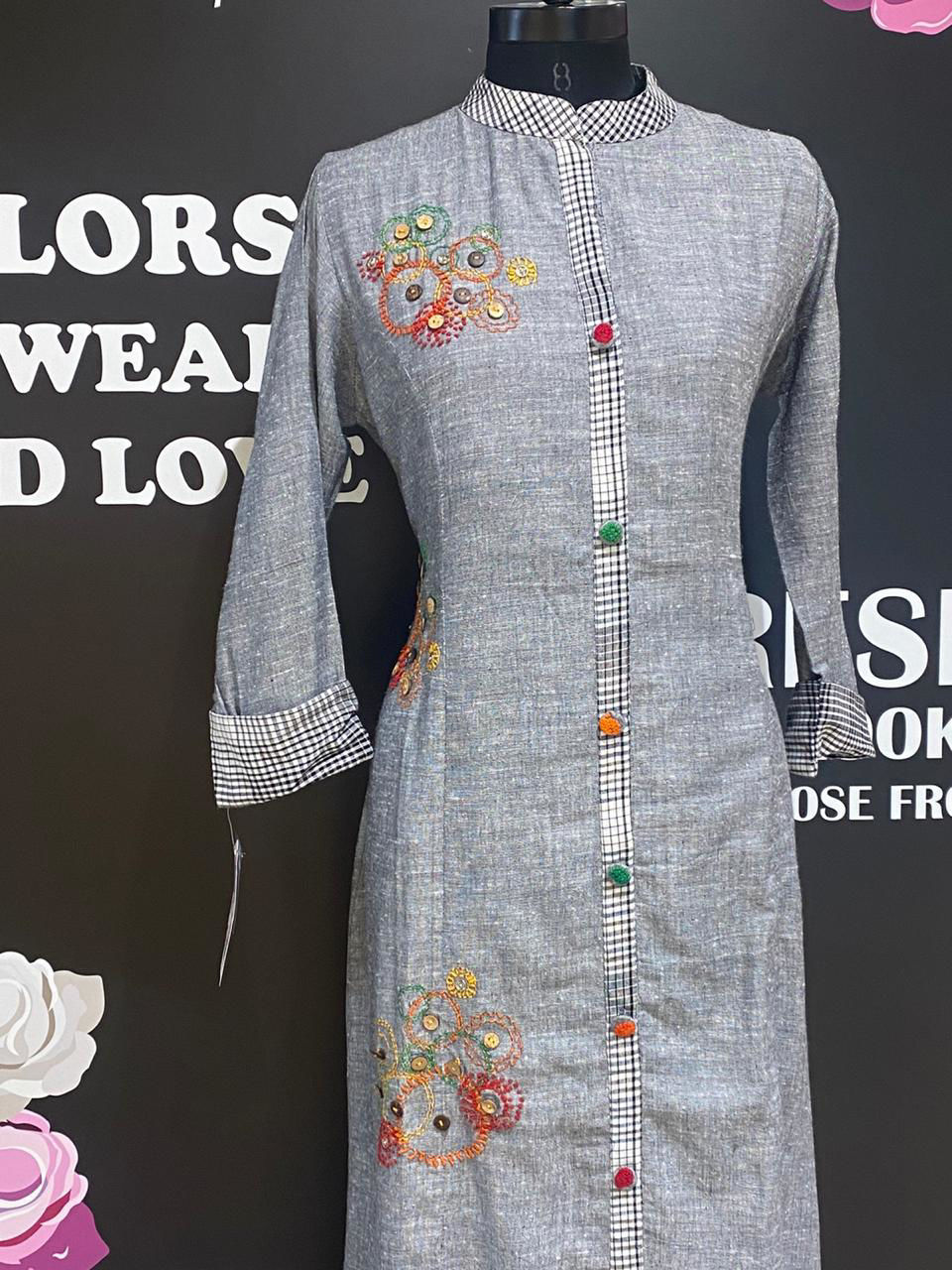 Picture of Soft cotton long tunic weaving linen based cotton with embroidery Butis and checks fabric detailing on centre panel sleeves and collar