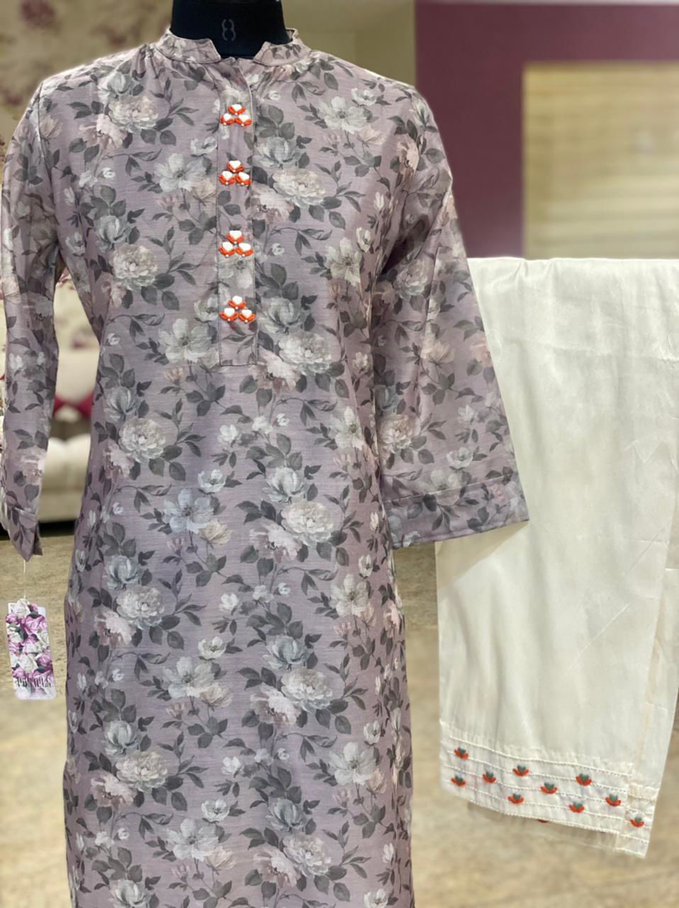 Picture of Plain floral all over printed Straight cut tunic in silk with floral prints and pure silk moti and thread work detailing on pants