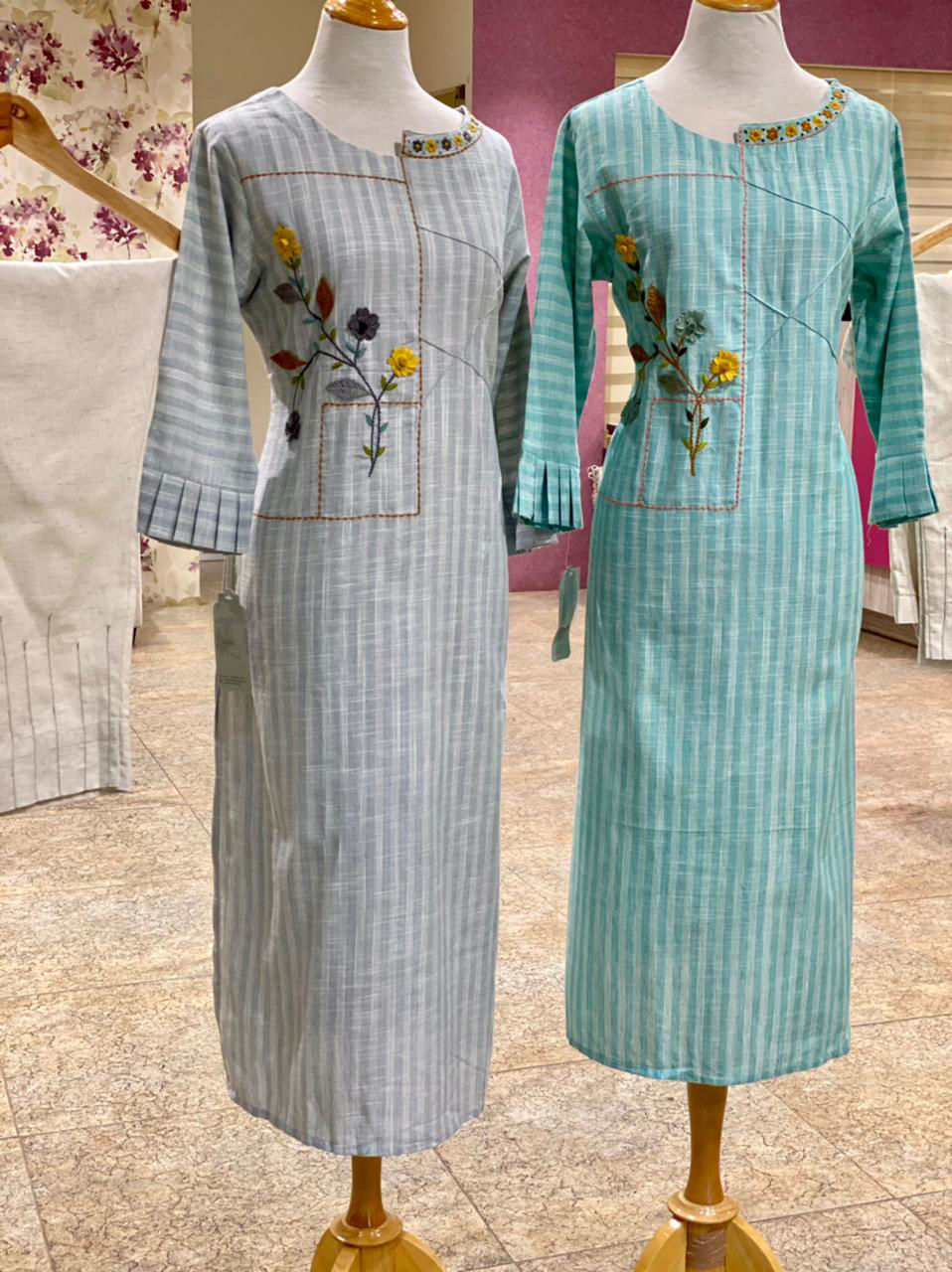 Picture of Smart linen based cotton tunic with hand thread embroidery and linen straight cut pants
