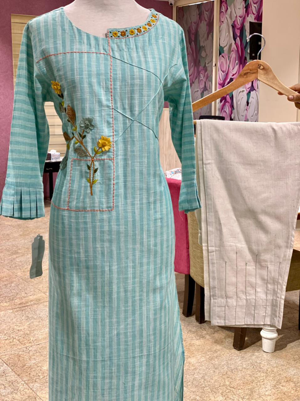 Picture of Smart linen based cotton tunic with hand thread embroidery and linen straight cut pants - copy