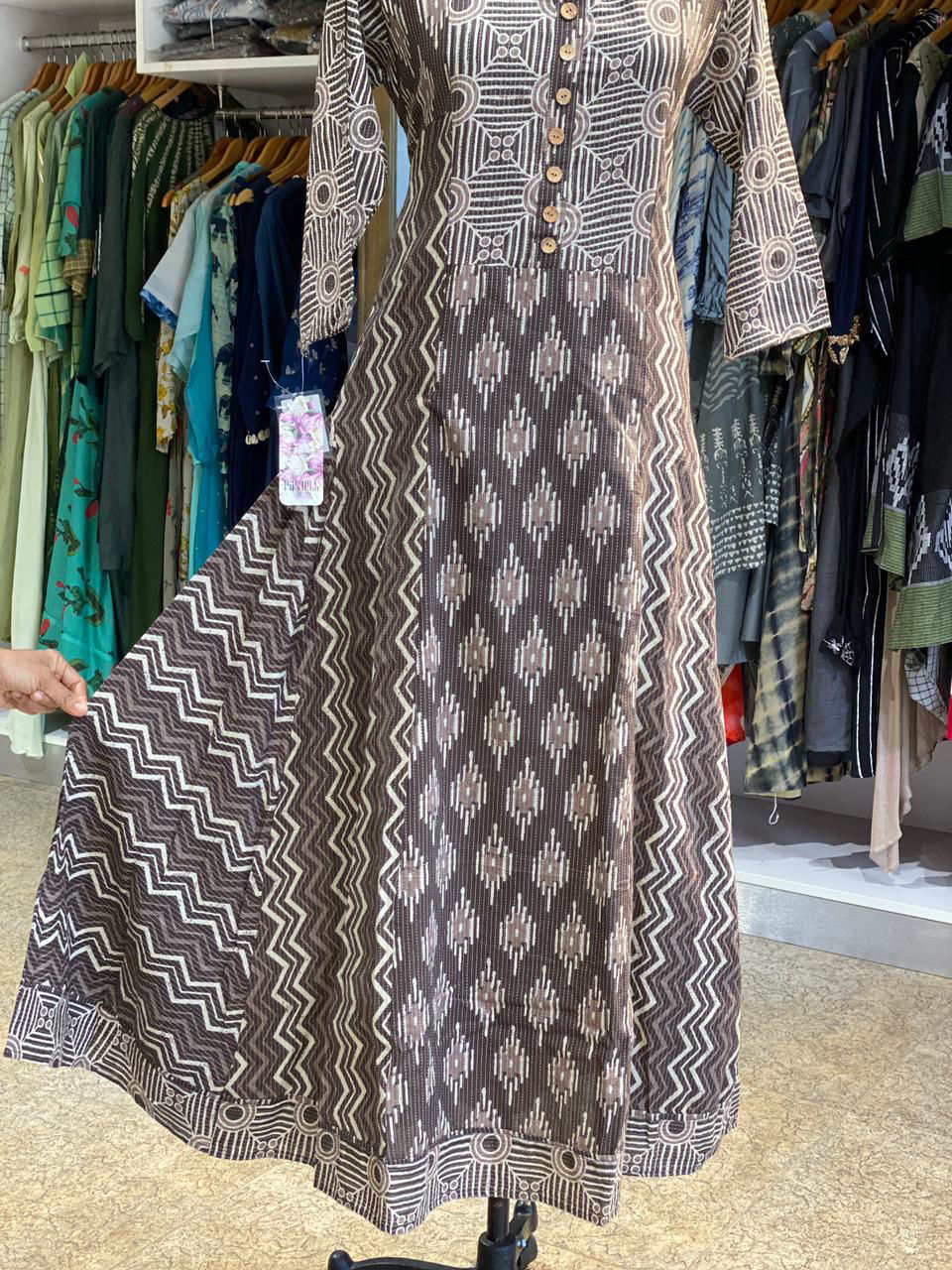 Picture of Long kali style tunic with mud block prints and katha work....in soft cotton