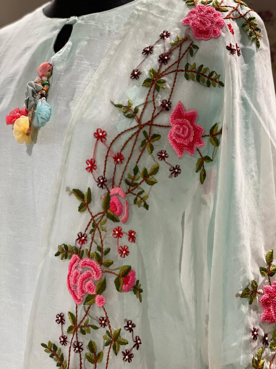 Picture of Pure silk Straight cut tunic in silk with heavy hand work thread embroidery organza silk dupatta with border