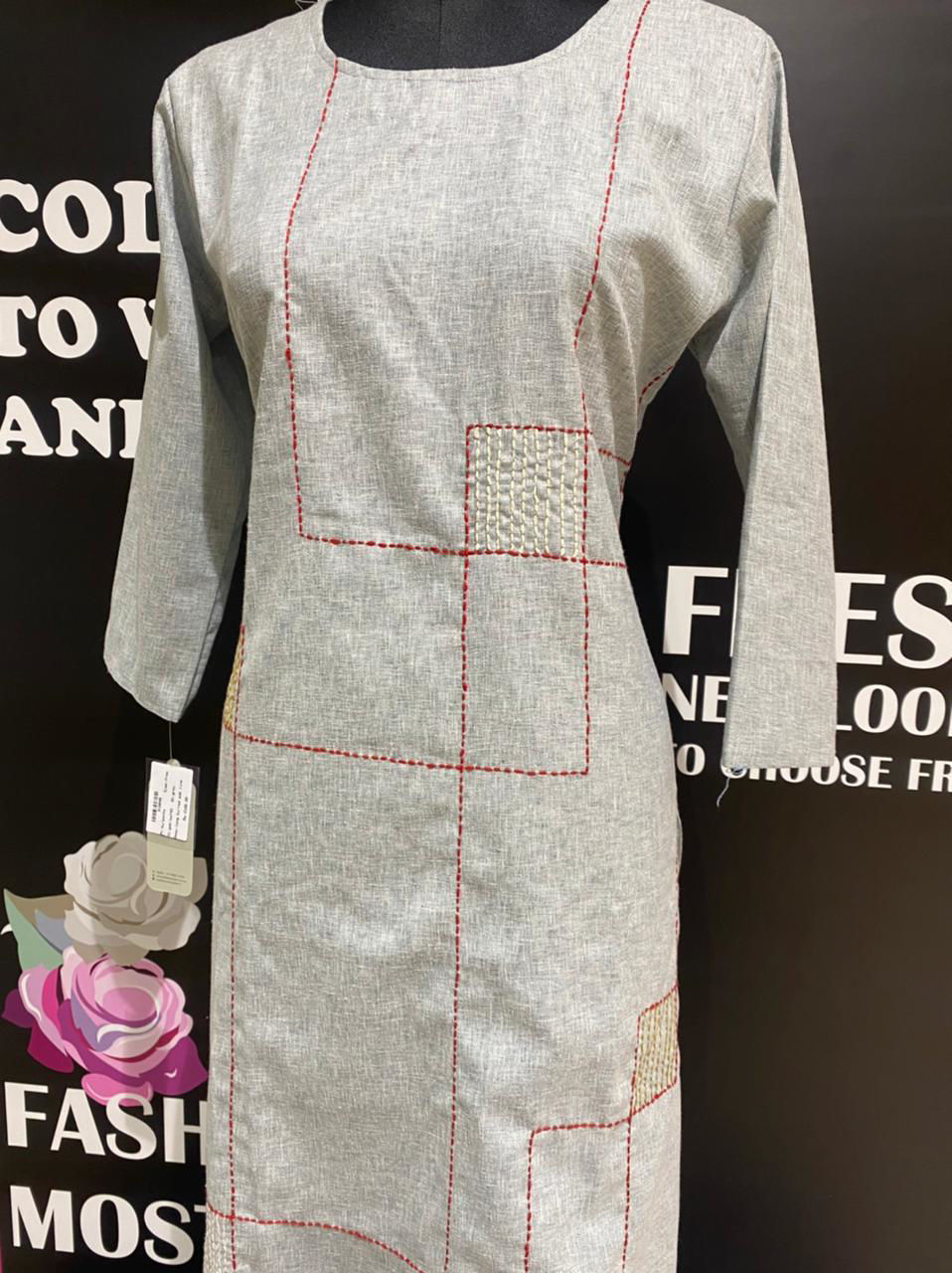 Picture of Pure soft cotton plain tunic with geometric kanta stitch embroidery and same colour pants.. extremely breathable and comfortable wear…