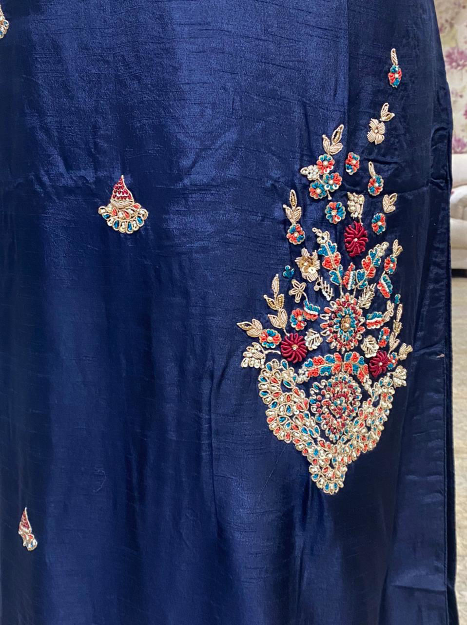 Picture of Pure soft silk  long kurta with intricate hand zardozi work and with same colour silk pants