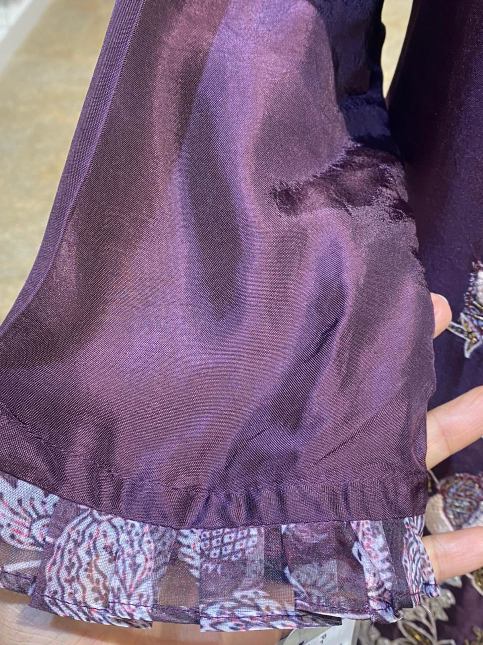 Picture of Pure silk kurta in straight cuts with work butis and printed organza silk dupatta