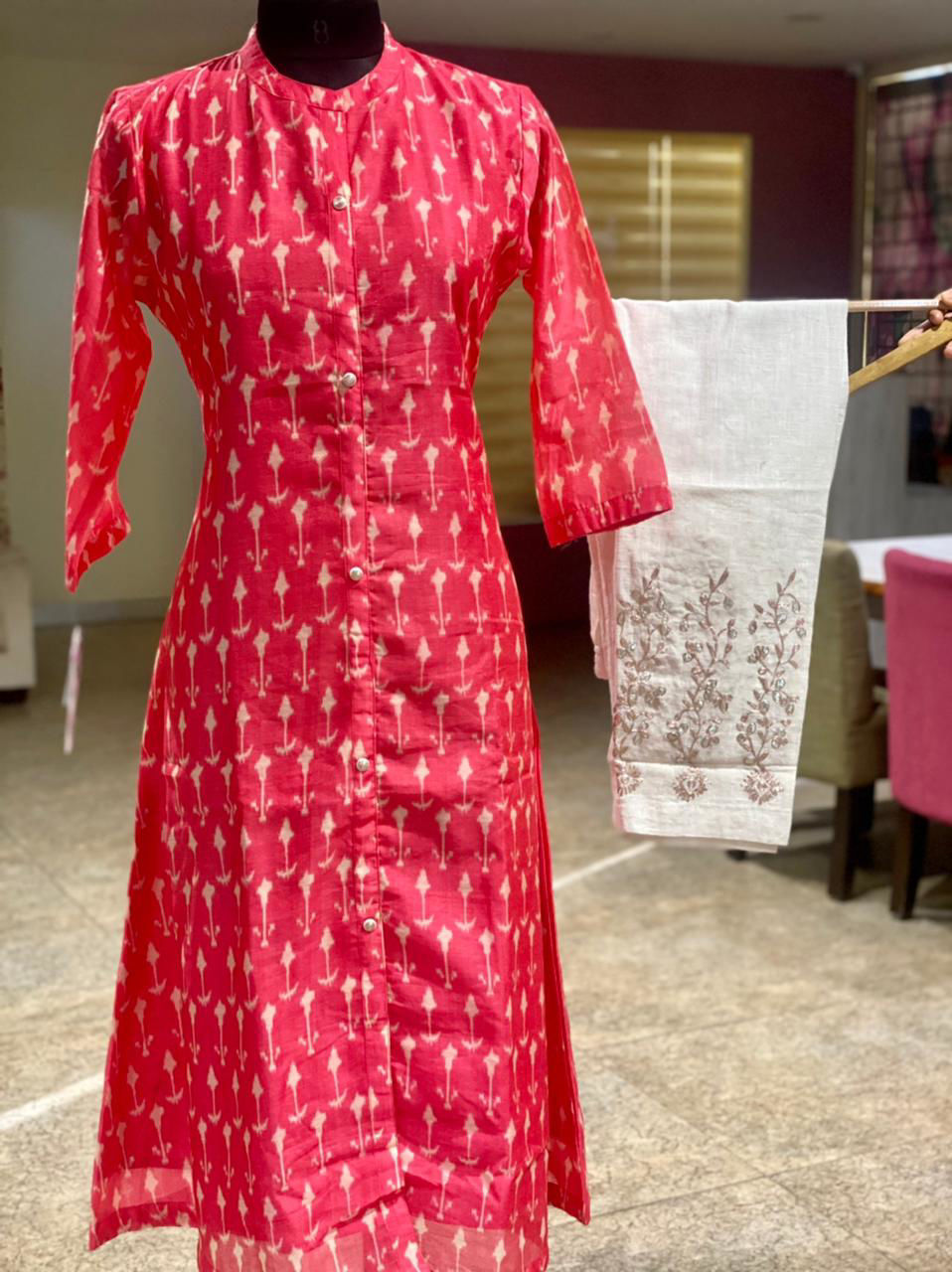 Picture of Ikkat printed Chanderi silk tunic with pita work pencil pants in linen