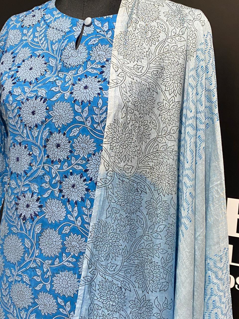 Picture of Block printed straight cut kurta with katha hand word embroidery and straight pants and shaded dupatta