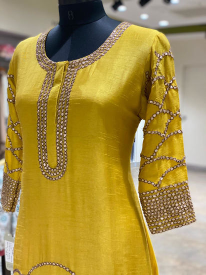 Picture of Nice yellow pure silk long layered gown with duppata....hand gota work done