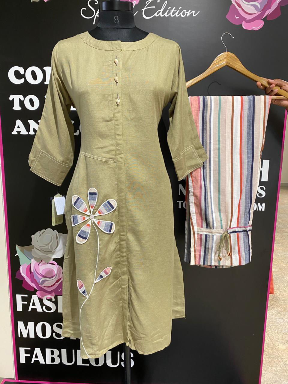 Picture of Smart Kurta with stripes comfort fit pants....applic work done...with pockets