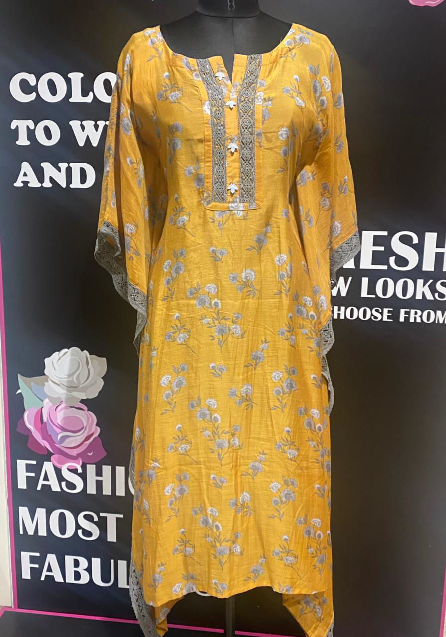 Picture of Smart silk printed kaftan with sides crocus lace