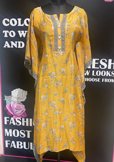 Picture of Smart silk printed kaftan with sides crocus lace - copy