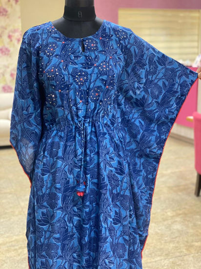Picture of Smart indigo printed kaftan with mirror detailing and hand Katha flower butti in contrast yellow