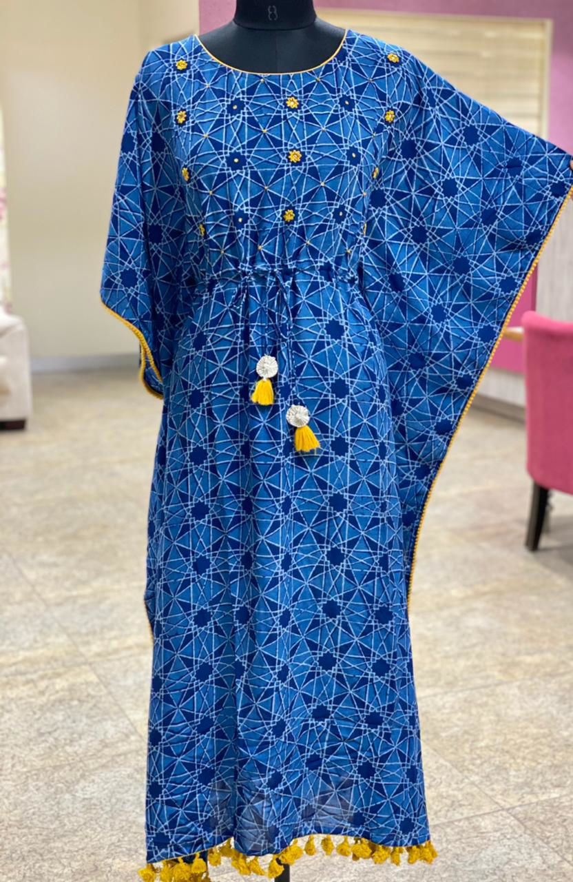 Picture of Smart indigo printed kaftan with mirror detailing and hand katha flower butti in contrast yellow - copy - copy