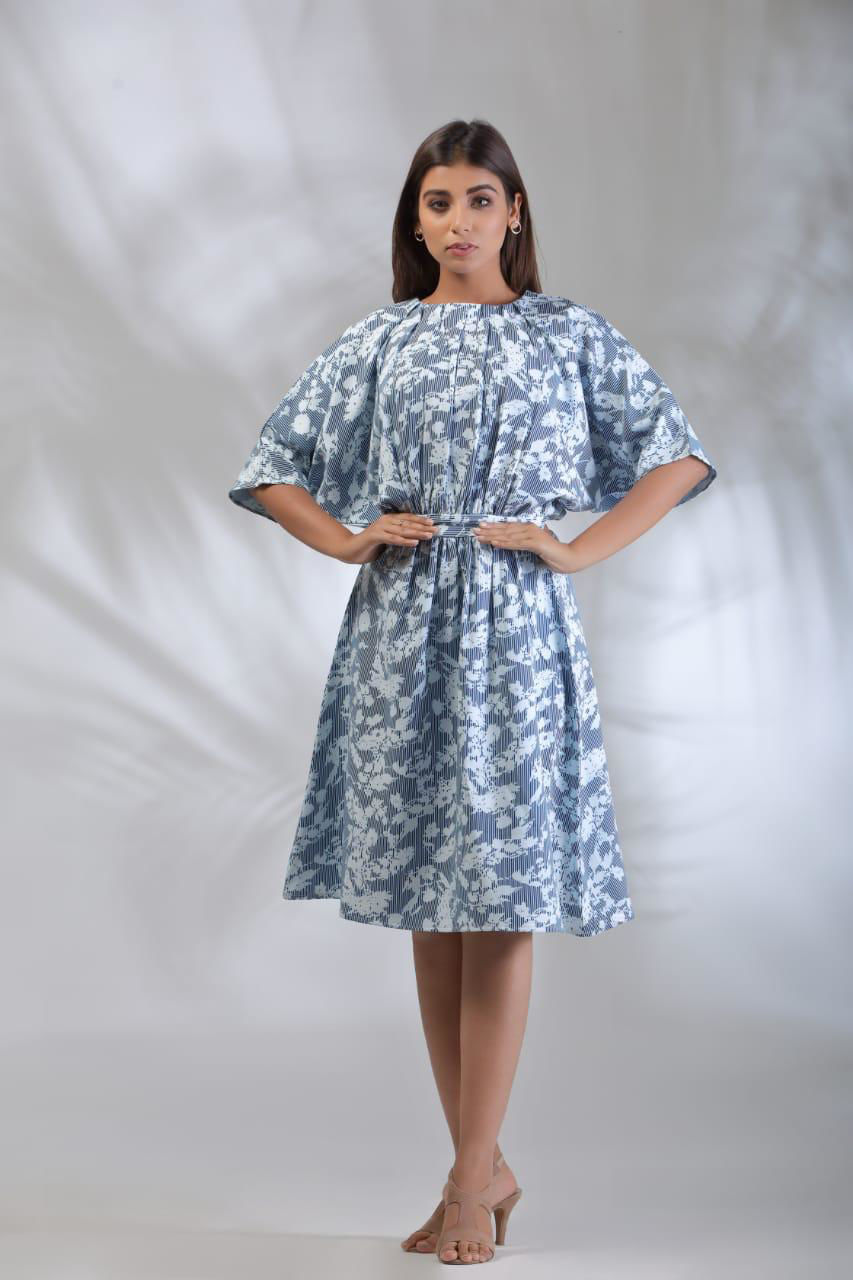 Picture of Smart one piece western style dress in soft Lycra fabric  Soothing floral print....easy to maintain fabric with stylish look