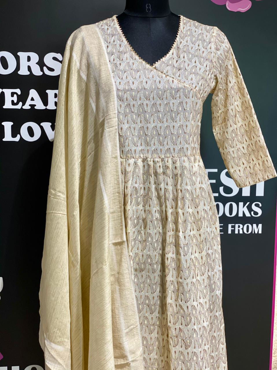 Picture of Self embroidery tunic in angrakha style with gota lace detailing and cotton silk dupatta..