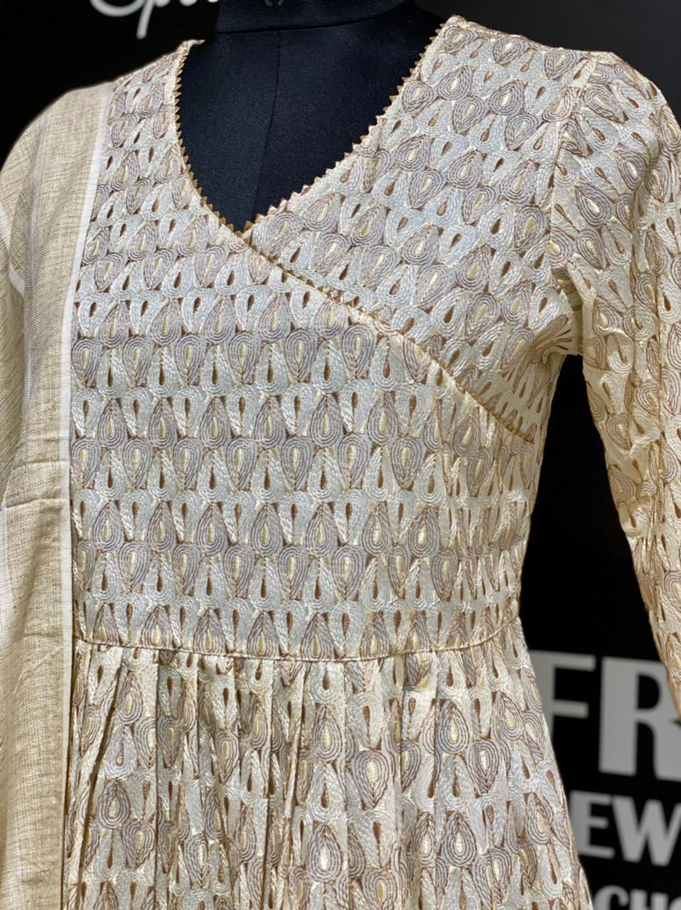 Picture of Self embroidery tunic in angrakha style with gota lace detailing and cotton silk dupatta