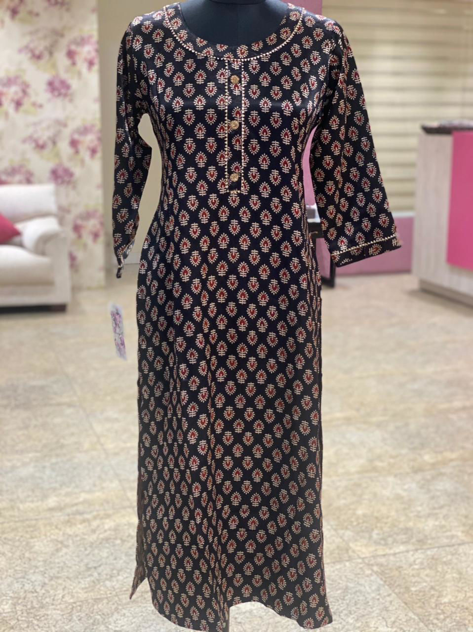 Picture of Straight cut tunic in ajrakh prints in soft silk fabric...