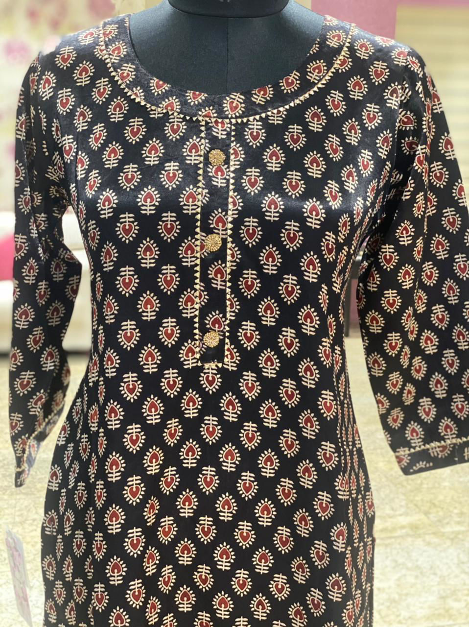 Picture of Straight cut tunic in ajrakh prints in soft silk fabric.
