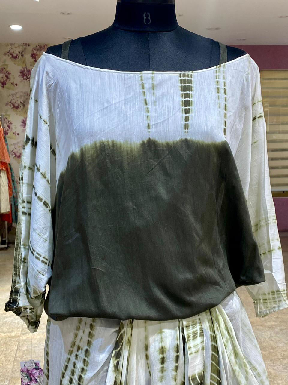 Picture of Soft sulk hand tie and die done smart indo western wear with cowl down