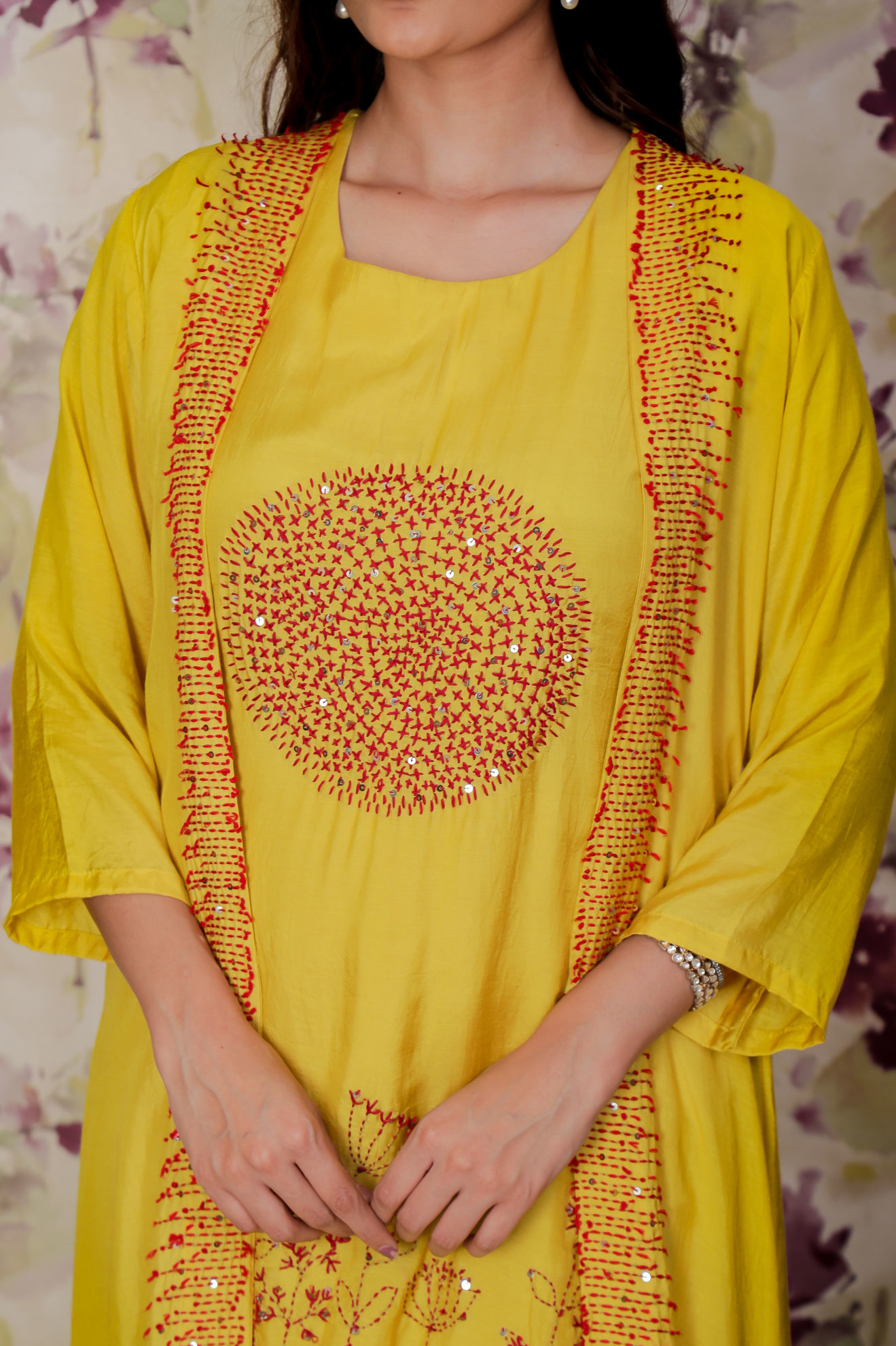 Picture of Festive yellow kurta pant set with separate jacket