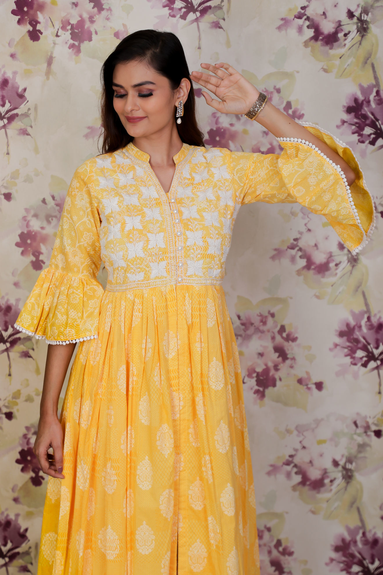 Picture of Hand Block printed tunic with thread embroidery on chest