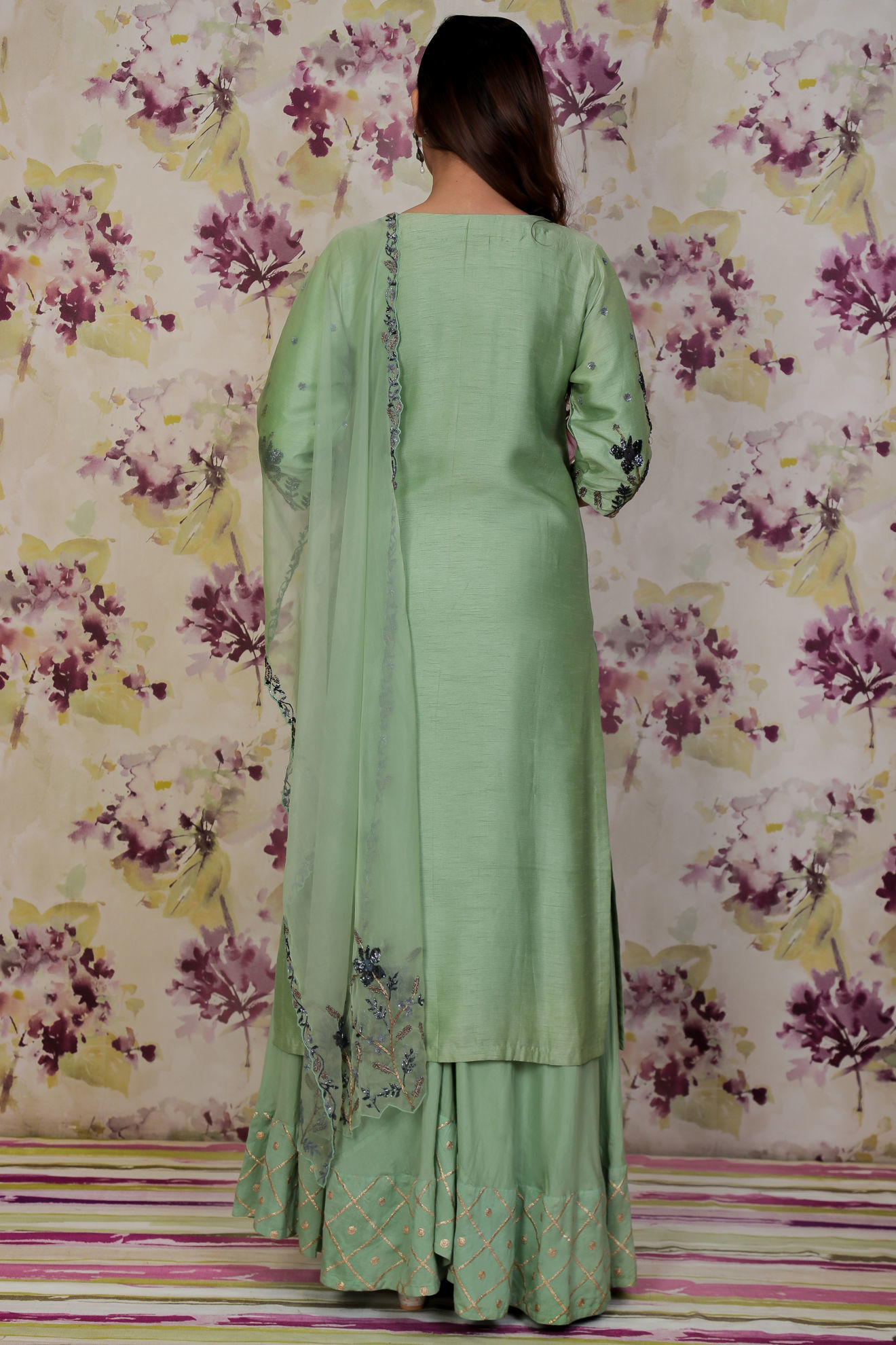 Picture of Pure silk kurta and pants with handwork on neckline and sleeves